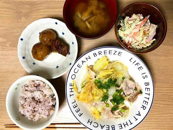 豚肉と白菜の重ね蒸しの献立例