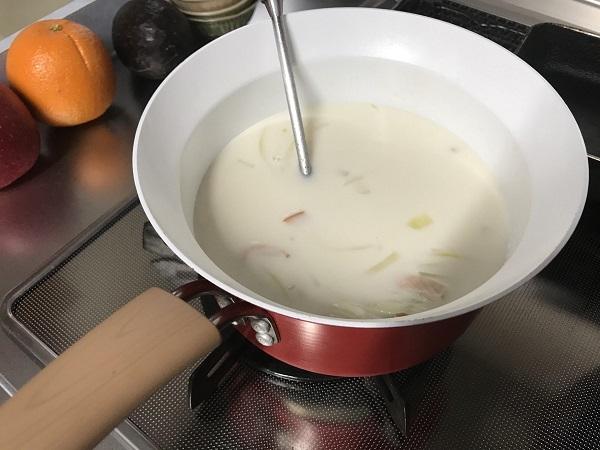 ほうれん草とハムのミルクスープレシピ