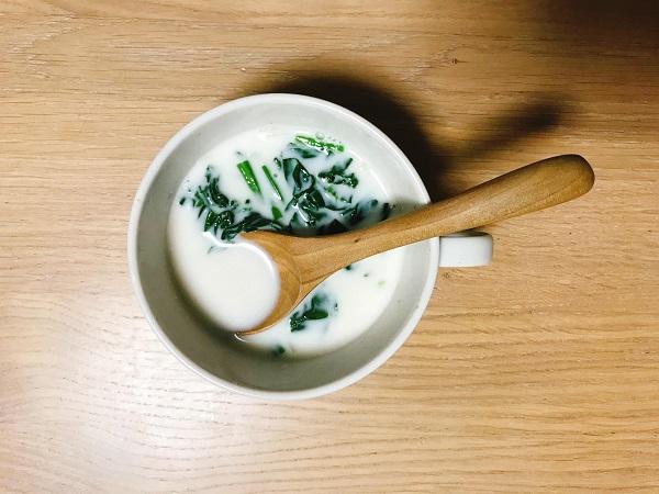 ほうれん草とハムのミルクスープ