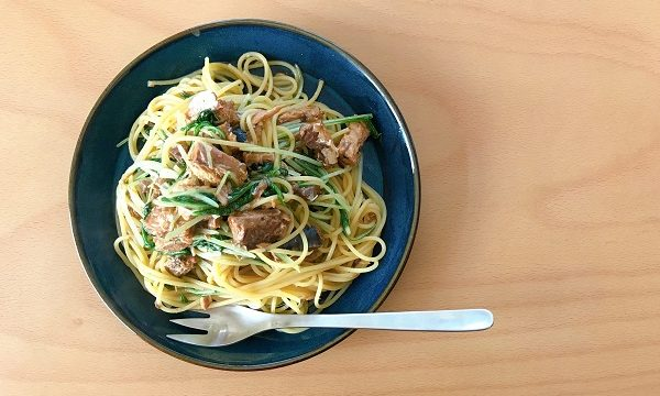鯖と水菜の味噌バターパスタ