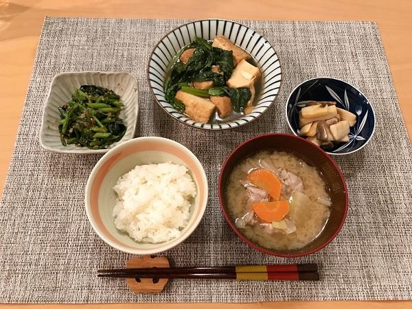 厚揚げと小松菜の煮物の日