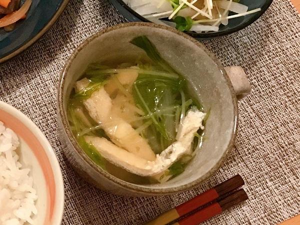 水菜と厚揚げの生姜スープ