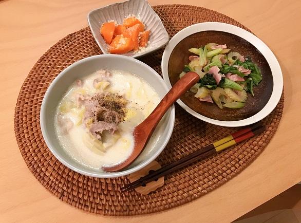 豚肉と白菜のクリーム煮献立