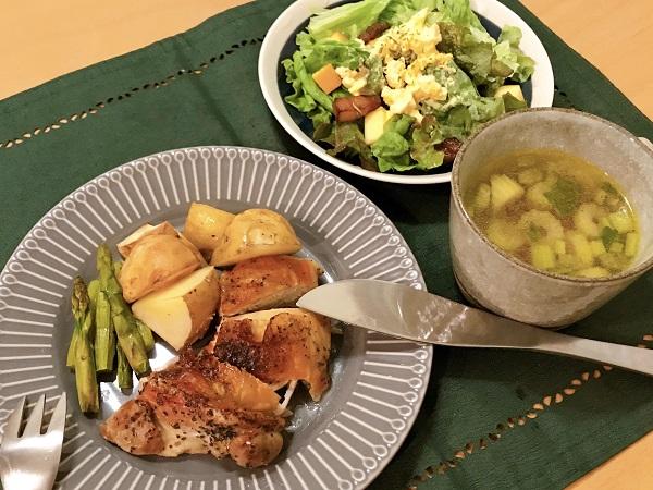 新じゃがと鶏もも肉のオーブン焼きの献立