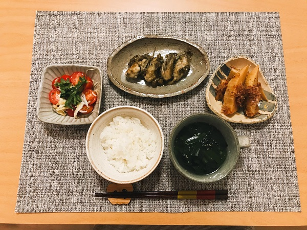 牡蠣と蕗味噌のバター炒め