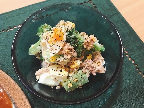 ブロッコリーと茹で卵の粒マスタードサラダ