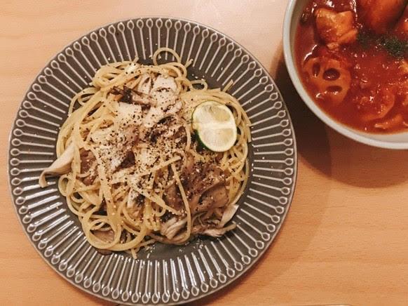 舞茸とかぼすのスパゲティ